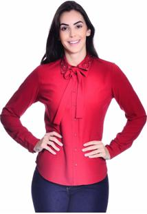 Camisa Loony Gola Laço Bordada Vermelha