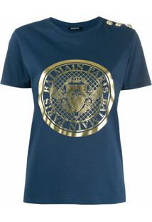 Balmain Camiseta Com Estampa De Medalhão - Azul