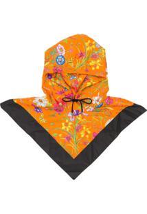 Gucci Floral Print Anorak Hat - Laranja