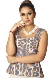 Regata Ficalinda Estampa Animal Print Onça Decote Redondo Evasê Feminina - Feminino-Marrom