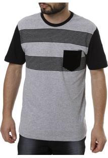 Camiseta Manga Curta Masculina Full Cinza Claro