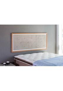 Painel Cabeceira Para Cama Casal Box Tecido Suede Bege E Madeira Cor Jatobá - 150X62,7X3 Cm