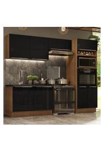 Cozinha Completa Madesa Lux 270001 Com Armário E Balcáo - Rustic/Preto Marrom