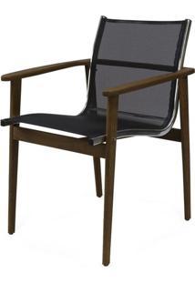 Cadeira Moline Assento Em Tela Cor Preto Com Base Madeira Cumaru - 44732 Sun House