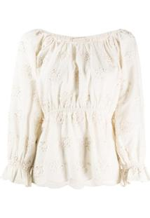 Mes Demoiselles Floral Embroidered Fitted Top - Neutro
