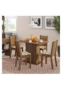 Conjunto Sala De Jantar Lexy Madesa Mesa Tampo De Madeira Com 4 Cadeiras Rustic/Floral Lírio Bege