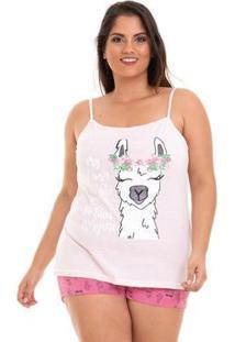 Pijama Plus Size Alcinha Verão Luna Cuore Feminino - Feminino-Rosa