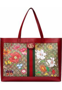 Gucci Bolsa Tote Com Estampa Flora - Neutro