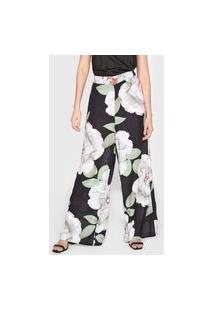 Calça Mercatto Pantalona Floral Preta
