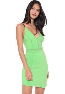 Vestido Colcci Curto Assimétrico Neon Verde