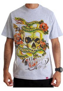 Camiseta Wevans Skull Old School Cinza Mescla