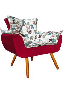 Poltrona Decorativa Opala Compos㪠Estampado Floral D68 E Veludo Vermelho - D'Rossi - Vermelho - Dafiti