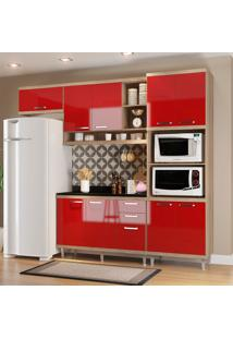 Cozinha Compacta Com Tampo 9 Portas 5829 Argila/Vermelho - Multimóveis
