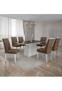 Conjunto De Mesa Com 6 Cadeiras Pampulha Ii Linho Branco E Marrom