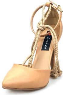 Scarpin Love Shoes Social Bico Fino Salto Alto Amarração Aberto Nude