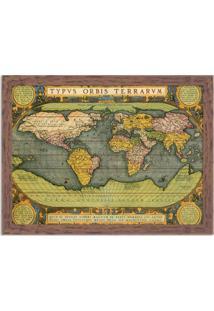 Quadro Decorativo Mapa Mundi Antigo Madeira - Médio