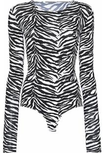 Mm6 Maison Margiela Body Com Estampa De Zebra - Preto