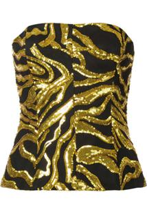 Halpern Top Cropped Com Bordado De Paetês - Dourado