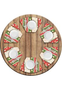 Jogo Americano Love Decor Para Mesa Redonda Wevans Merry Christmas Kit Com 6 Pçs
