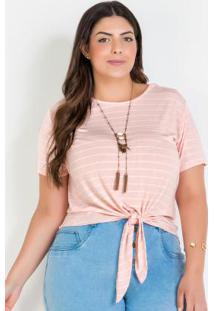 Blusa Listrada Com Amarração Plus Size