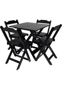 Conjunto Mesa Com 4 Cadeiras Dobrável Trevalla 70X70Cm Preta