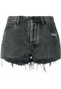 Off-White Short Jeans Com Estampa De Slogan - Cinza