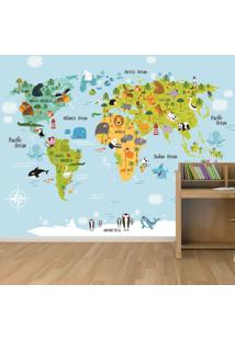 Adesivo Mapa Mundi Ilustrativo Infantil