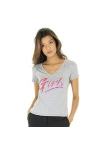 Camiseta Mescla Decote V Silk Girls