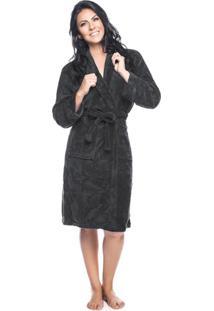 Roupão Fleece Adulto Quimono Com Gola Sublime G Com 1 Peça - Produto Importado Lepper Preto