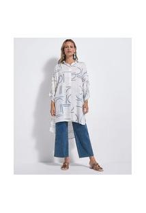Camisa Alongada Em Viscose Com Estampa Geométrica | Marfinno | Branco | P