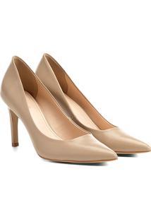 Scarpin Couro Shoestock Salto Médio - Feminino-Bege