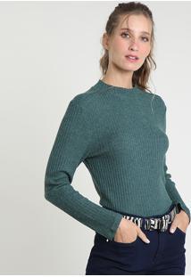 Suéter Feminino Canelado Em Tricô Decote Redondo Verde