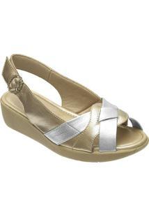 Sandália Confort Feminina Em Couro Danflex - Feminino-Dourado