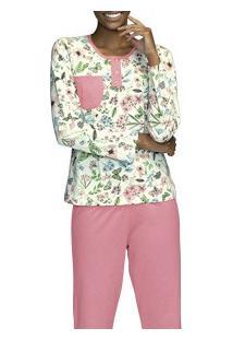 Pijama Longo Floral Demillus (285049) 100% Algodão