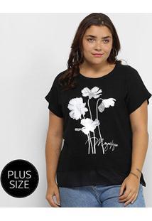 Blusa City Lady Flores Megnifique Plus Size Feminina - Feminino-Preto