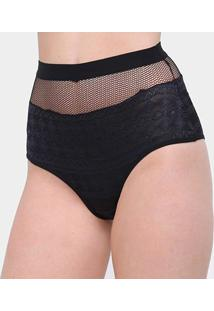 Calcinha Colcci Hot Pants Tela Cintura Alta Feminina - Feminino-Preto