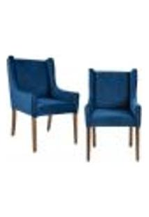 Kit 02 Poltronas Decorativas Base Fixa Madeira Belle D02 Tressê Veludo Azul Oxford B-304 - Lyam Decor
