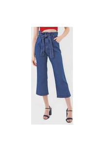 Calça Jeans Maria Filó Pantacourt Denim Azul
