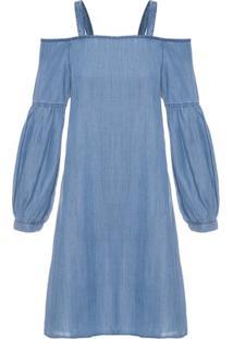 3a71453c60 ... Vestido Jeans Ombro A Ombro Shoulder - Azul