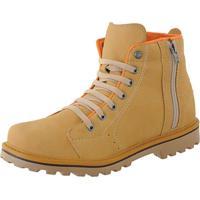 5d51d2ca24 Bota Cr Shoes Coturno Casual Sapatofran Resistente Com Atacador Elástico E  Zíper Lateral Amarela