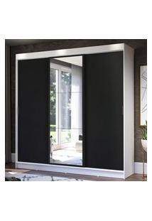 Guarda-Roupa Casal Madesa Istambul 3 Portas De Correr Com Espelho 3 Gavetas - Branco/Preto Branco