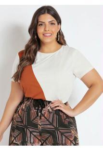 Blusa Bicolor Off White E Caramelo Plus Size