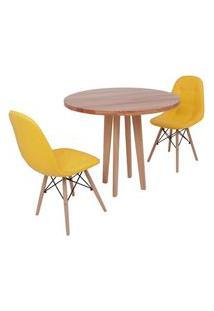 Conjunto Mesa De Jantar Em Madeira 90Cm Com Base Vértice + 2 Cadeiras Botonê - Amarelo