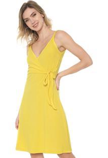 Vestido Mercatto Curto Canelado Amarelo