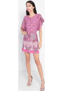 Vestido Em Arabescos Com Amarração- Rosa & Cinza- Mamaria Padilha