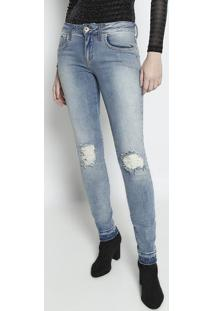 Jeans Verã´Nica Skinny Estonada- Azul- Forumforum