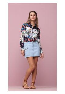 Saia Jeans Com Detalhes Lateral Jeans