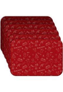 Jogo Americano Love Decor Wevans Elementos Natalinos Vermelhos Kit Com 6 Pçs