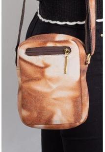 Bolsa Feminina Shoulder Bag De Couro Estampado Pietra - Feminino-Marrom Claro