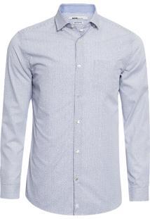 Camisa Masculina Slim Stripe Print - Azul